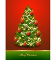 christmas tree decorated with balls and stars vector image vector image