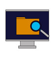 computer monitor folder analysis vector image vector image