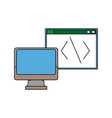 computer monitor programming design graphic vector image