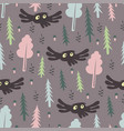 cute forest pattern with owl vector image vector image