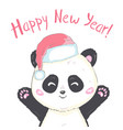 cute panda in santas hat in red bag with gifts vector image vector image