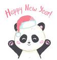 cute panda in santas hat in red bag with gifts vector image