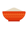 deep ceramic bowl with flour flat icon isolated vector image vector image