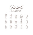 drink 15 icons set design vector image
