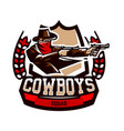 emblem logo cowboy shooting from two revolvers vector image vector image