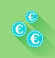 euro coins icon in flat style blue coin on green vector image