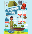 fisherman with fishing tips fishery tools poster vector image vector image