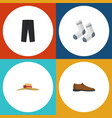 flat icon garment set of foot textile male vector image vector image