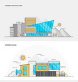 flat line color concept- modern architecture and vector image vector image