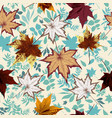 floral autumn pattern with fall leaves vector image