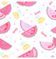 fresh watermelon with drops and text seamless vector image