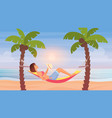 girl lying in hammock sea beach summer tropical vector image