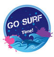 go surf time wave circle frame background i vector image vector image