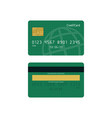 green credit card front and back views vector image
