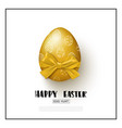 happy easter background with realistic golden egg vector image vector image