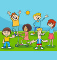 happy kids and teens cartoon characters group vector image