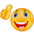 Happy smiley emoticon giving thumbs up vector image vector image