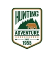 Hunting and adventure retro badge design with bear vector image vector image