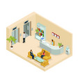 isometric office hall concept vector image vector image