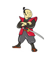 Japanese Samurai Warrior With Sword vector image vector image