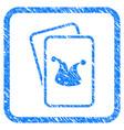 joker gaming cards framed grunge icon vector image