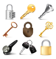 Keys and locks icons set vector image vector image