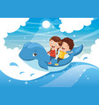 kids riding whale vector image