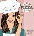 pizza advertising banner with a beautiful lady vector image vector image