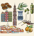 portugal icon set lisbon and porto drawings vector image vector image