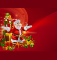 red cartoon santa background vector image vector image