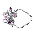 rose lavender bouquet engrave frame isolated vector image