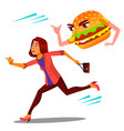 scared woman runing away from hamburger vector image vector image