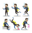 scuba diver cartoon set snorkeling diving vector image vector image