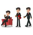 set of businessman in black suit making a break vector image vector image