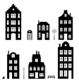 Set of houses silhouettes on white background vector image vector image