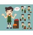 Set of youg merchant sale man at market shopping vector image