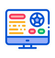 soccer website on screen icon outline vector image