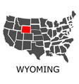 state wyoming on map usa vector image vector image