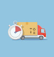 truck transportation stopwatch with cardboard box vector image