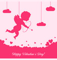 valentines day card with cupid and ornaments vector image