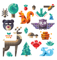 various forest icons geometric proportions vector image