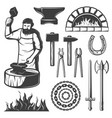 vintage blacksmith elements set vector image