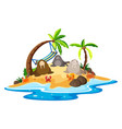 walrus and crabs on island vector image vector image