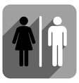 WC People Flat Square Icon with Long Shadow vector image