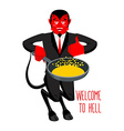 Welcome to Hell Devil holding frying pan for vector image vector image