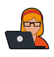 woman using laptop icon image vector image