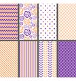 Orange And Purple Seamless Patterns vector image