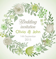 Watercolor wreath with flowers and leaves vector image