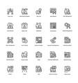 project management line icons set 24 vector image