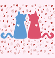 couple of bright colored cats on Valentines Day vector image